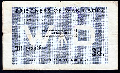 Great Britain; POW Camp issue. 3 pence. Camp 106. No; B 143828. (C; 5015c). VF.