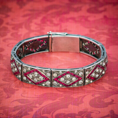 Art Deco Red Paste Stone Bracelet Silver Circa 1920