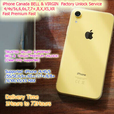 iPhone Canada BELL VIRGIN Premium Factory Unlock Service 4 5 5s 6 6s SE 7 8 X XS