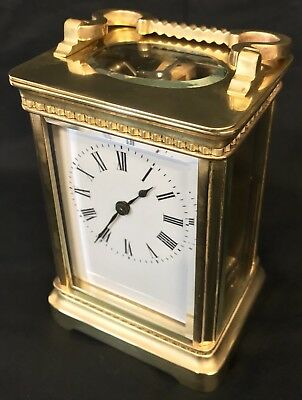Brass & Bevelled Glass Carriage Mantel Clock Timepiece & Key Shaped Handle