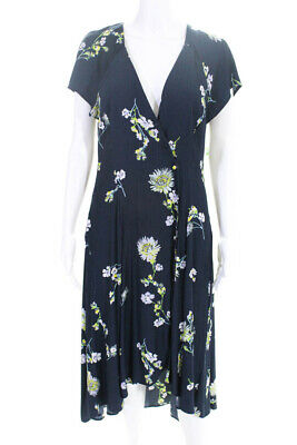 a37867a3a8b9 Free People Womens Lost In You Midi Floral Print Dress Blue Size Medium  10971377