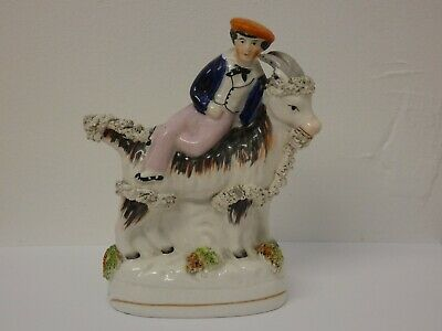 Antique Victorian Staffordshire Figure Boy on Goat Prince Edward Bertie c.1850