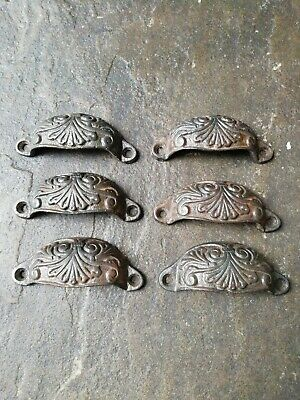 6 x Old ornate cast iron drawer handles