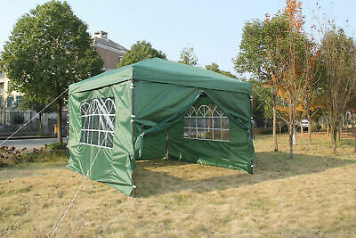 Pop Up Heavy Duty Garden Gazebo 2x2m Wedding Tent Marquee Canopy With Bars GREEN