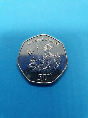 2012 Isle of Man IOM 50p Fifty Pence Coin Queen Elizabeth II Diamond Jubilee K