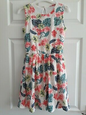 Girls Yd Primark Cream Multi Floral Textured Lace Lined Dress - Age 12-13