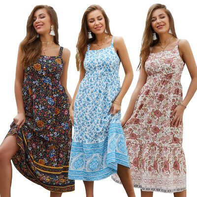 Summer Women Print Boho Strappy Dress Backless Spaghetti Holiday Beach Sundress