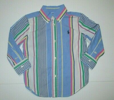 Boys Ralph Lauren Blue Green Pink Striped Button Down Dress Shirt Size 2 2T