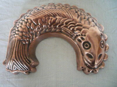 Old Copper Fish Mousse Jelly Food Mould Mold Collectable Kitchenalia