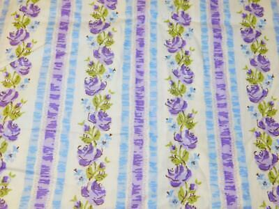 "2 Yards Vintage 36"" w COTTON FABRIC Blue Purple Rose Ribbon STRIPE Ticking Quilt"