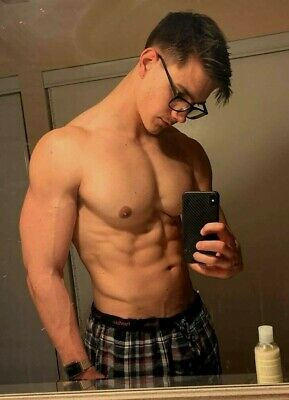 Shirtless Male Beefcake Muscular Physique Glasses Handsome Hunk PHOTO 4X6 G124