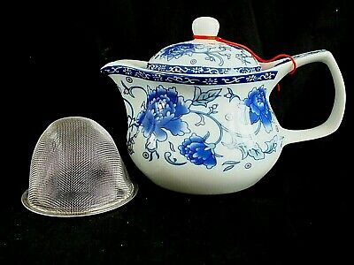Chinese Japanese Blue Peony Flower White Ceramic Teapot Green Tea Infuser Party