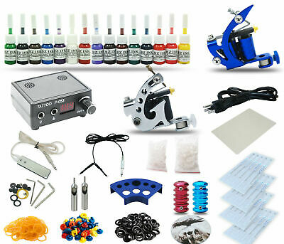 Complete Tattoo Kit 2 Coil Machine Guns Set Power Supply 15 Color Inks tk22