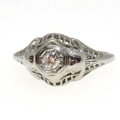 VTG Art Deco Antique Filigree 18K White Gold 0.10ctw Diamond Ring Size 6.5 LFF3