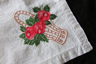 Stunning Vintage French Metis Linen Hand Embroidered Floral Tablecloth c1920s