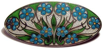 Antique Early American Art Nouveau Floral Guilloche Enamel Brooch Pin 2 1/8""