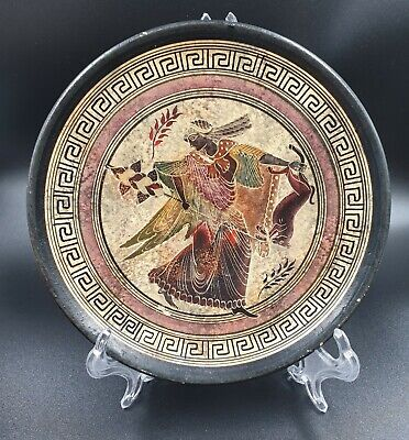 Vintage Red Clay Wall Plate God Ancient Greek Art Pottery Rare Hand Painted