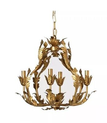 Tole Chandelier Italian Gold Iron Pendant Lamp Light Opalhouse Decor