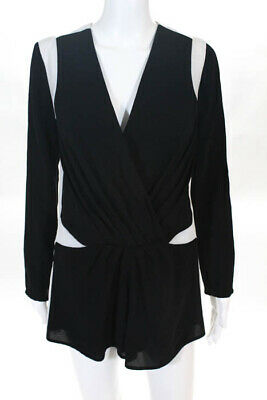 Finders Keepers Black White Long Sleeve V Neck Romper Size Extra Small