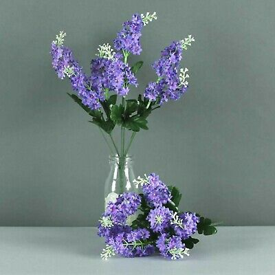Silk Lilac Bush 7stem x35cm Floristry bunch flowers and foliage Lilac Pink White