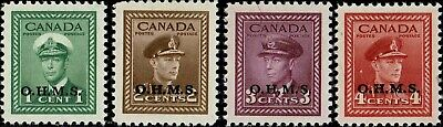 CANADA #O1-O4 1949-50 1 TO 4c OVERPRINTED OFFICIAL STAMP ISSUES MINT-OG/NH-XF