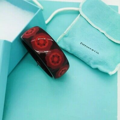07a122ca0 NEW Tiffany & Co Paloma Picasso Zellige RED Resin Geometric Wide Bangle  Bracelet