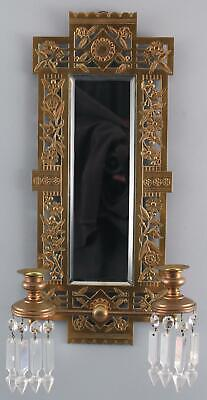 Antique 19thC Aesthetic Architectural Brass Mirror Candle Wall Sconce