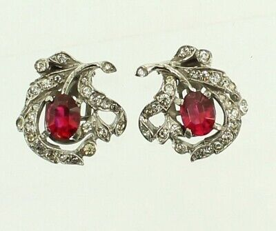 Vintage WWII  Crown Trifari Sterling Alfred Philippe Ruby Crystals RS Earrings