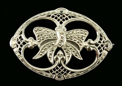 Antique Sterling Rhodium Plated Marcasite Filigree Ribbon Bow Pretty Oval Pin 2""