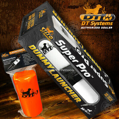 DT Systems Super Pro Launcher Dummy Hand Held Dog Training Kit White and Orange