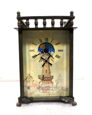 Interesting Animated Windmill Novelty Carriage Clock With Day/Night Moon Dial