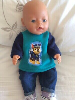 """Doll Clothes to fit 17"""" Baby Born Boy doll ~ 2 Piece - Blue/teal / Paw Patrol"""