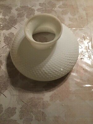 "Vintage Milk Glass Hobnail GWTW Oil Electric Hurricane LAMP SHADE 10"" Fitter"
