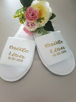 Bride,Bridal, Bridesmaid, wedding Slippers, spa hen party maid of honour gift