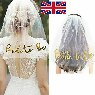 White Veil Comb with Rose Gold Bride to Be Wedding Hen Night Bachelorette Party