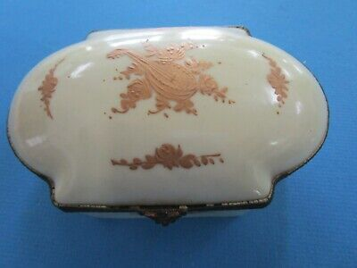 Antique 19th century French Fine Porcelain Lidded  Jewelry box
