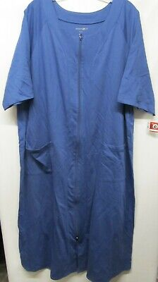 af2693fab8b8 Dreams & Co women Plus size 1X Blue house dress short sleeve pockets NWOT  Lot#