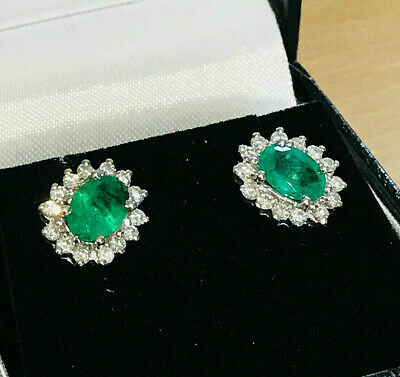 Stunning 18ct, 18k, 750 Gold Emerald and Diamond (1.80ct) cluster earrings