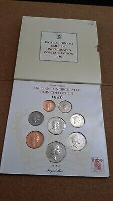 UK 1986 Royal Mint Brilliantly Uncirculated Coin Collection.
