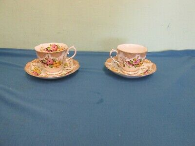 "2 beautiful vintage Royal Albert ""Lovelace"" bone china cups and saucers VGC"