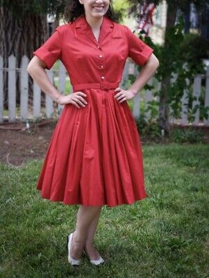7f7ac8a2aaa7 Red Vintage Button Up Full Circle Dress 1950's 50's Vtg Swing Pinup I Love  Lucy