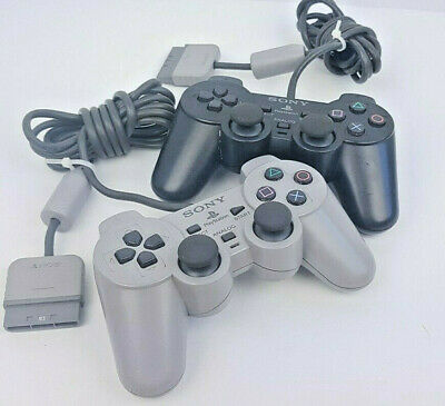 Lot of 2 OEM Official Analog Sony Playstation (PS1) Controllers (SCPH-1200)
