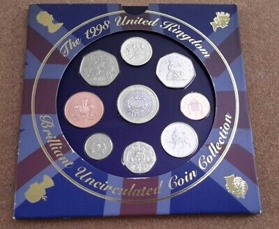 UK 1998 Royal Mint Brilliantly Uncirculated Coin Collection.
