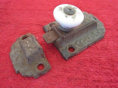 "Antique 1871 Ornate Eastlake Cast Iron With Porcelain Knob 3"" Cabinet Door Latch"