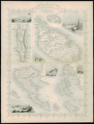 "1850 ""BRITISH POSSESSIONS MEDITERRANEAN"" Map by Tallis MALTA CORFU GIBRALTAR"
