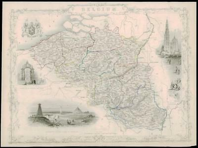 "1850 Original Illustrated Antique Map of ""BELGIUM""  by Tallis & Rapkin  (45d)"