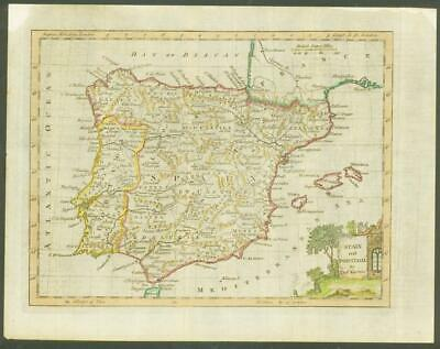 "1770 - Original Antique Map ""SPAIN AND PORTUGAL"" by T KITCHIN Hand coloured"