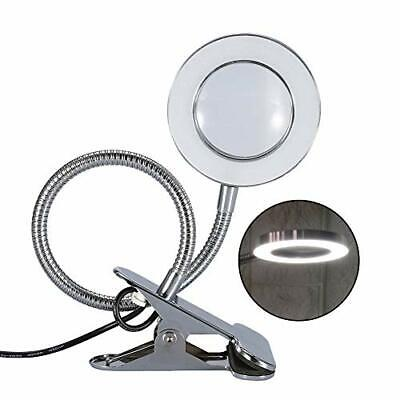 LED Tattoo Lampe, tragbare Leselampe 2.5X Lupe USB Salon Tischleuchte mit Clip,