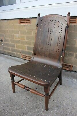 Antique Victorian Nursing Chair Repro 1970s Rare-Gothic Vintage Dark wood