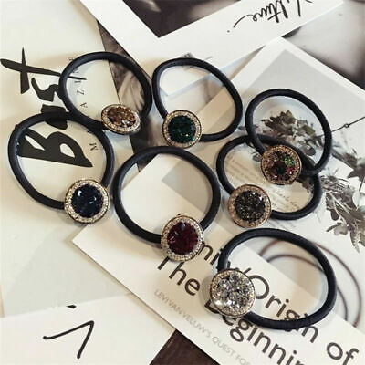 Woman Elastic Crystal Hair Ring Rope Band Tie Rubber Ponytail Holder Scrunchies